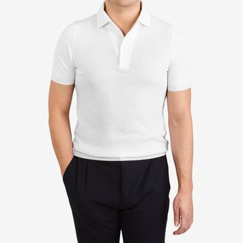 Gran Sasso White Fresh Cotton Mesh Polo Shirt Front