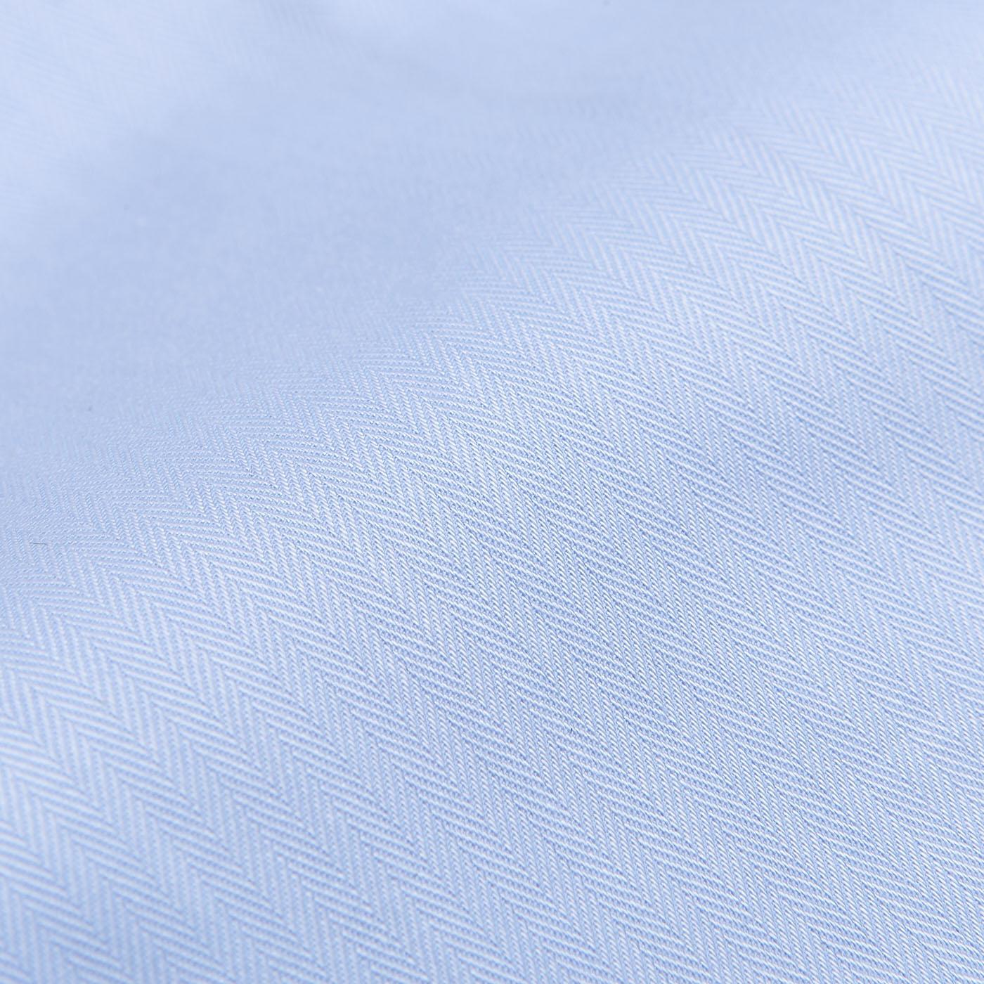 Mazzarelli Light Blue Slim Cutaway Herringbone Shirt Fabric