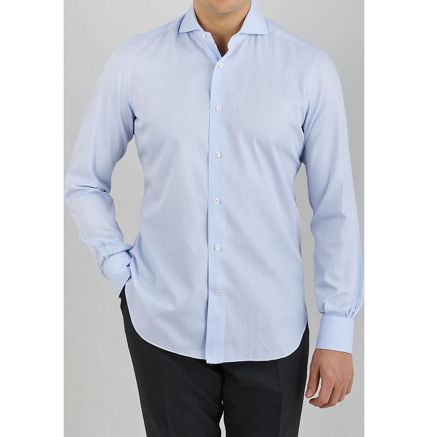 Mazzarelli Light Blue Slim Cutaway Herringbone Shirt Front