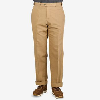 PT Torino Beige Cotton Linen Canvas Trousers Front
