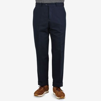 PT Torino Navy Cotton Linen Canvas Trousers Front