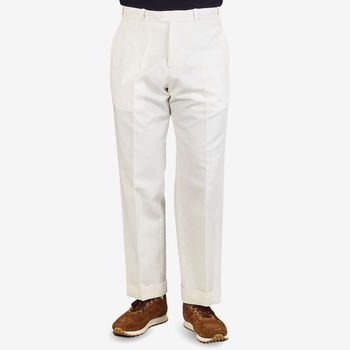 PT Torino Off-White Cotton Linen Canvas Trousers Front