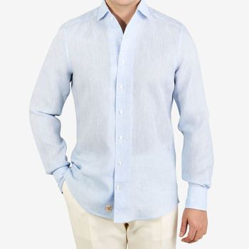 Stenströms Light Blue Linen Slimline 1899 Shirt Front