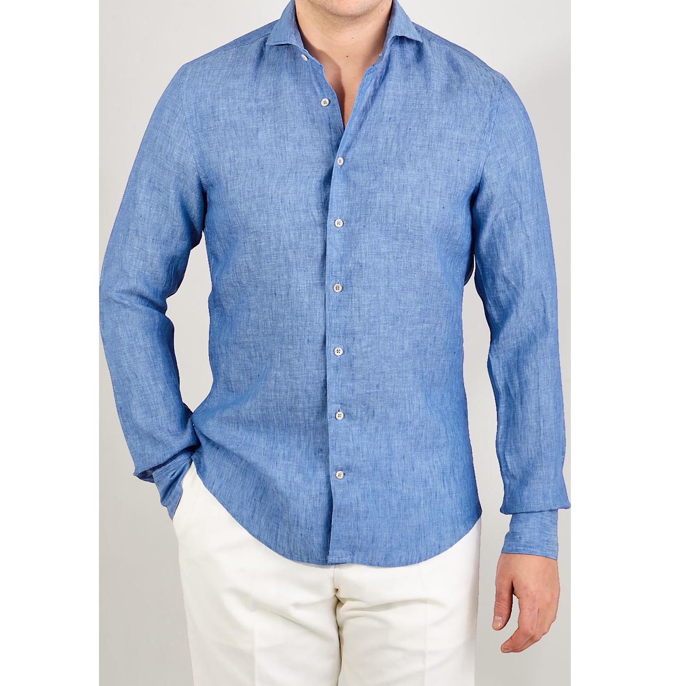 Stenströms Sky Blue Linen Cutaway Slimline Shirt Front