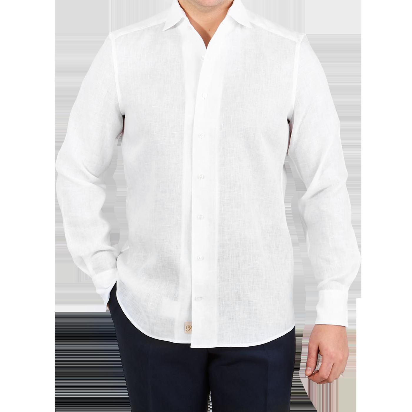 Stenströms White Linen Slimline 1899 Shirt Front