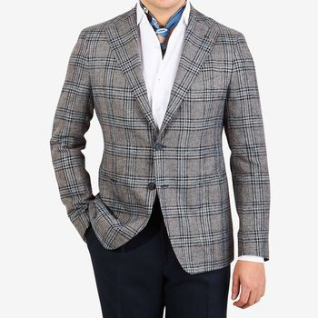 Tagliatore Light Blue Glencheck Cotton Wool Linen Blazer Front