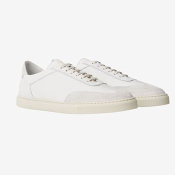 C.QP Seagull White Otium Leather Sneakers Front
