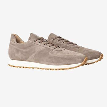 C.QP Taupe Suede Stride Retro Runner Front