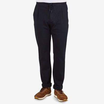 Canali Navy Cotton Stretch Drawstring Casual Trousers Front