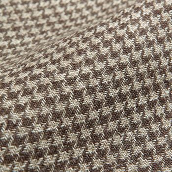 De Petrillo Brown Houndstooth Wool Linen Sahariana Jacket Fabric