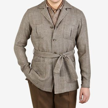 De Petrillo Brown Houndstooth Wool Linen Sahariana Jacket Front