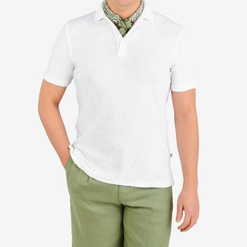 Fedeli White Towelling Cotton Polo Shirt Front