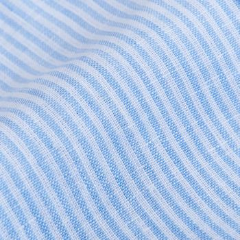 Mazzarelli Blue Striped Linen Mandarin Shirt Fabric