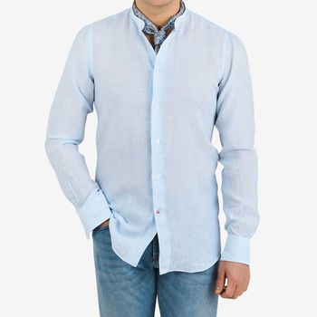 Mazzarelli Blue Striped Linen Mandarin Shirt Front