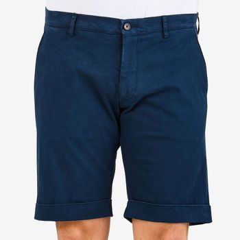 Berwich Blue Cotton Stretch Bermuda Shorts Front