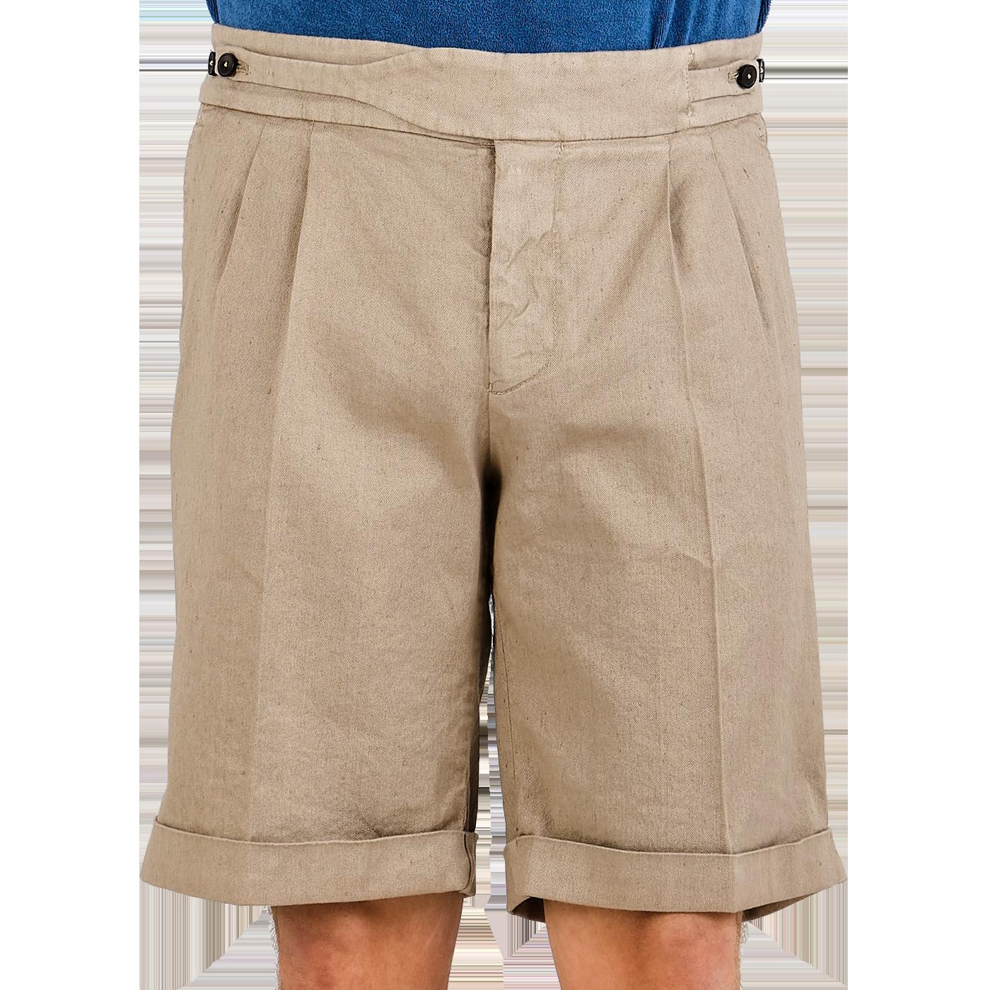 Berwich Dark Beige Linen Cotton Gurkha Shorts Front