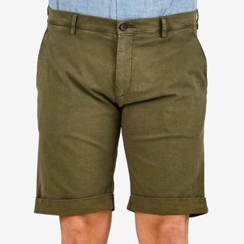 Berwich Moss Green Cotton Stretch Bermuda Shorts Front