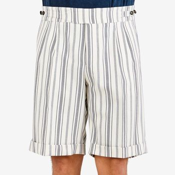 Berwich Off-White Striped Cotton Gurkha Shorts Front