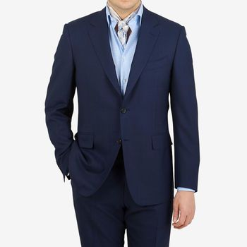 Canali Dark Blue Melange Tropical Wool Suit Front
