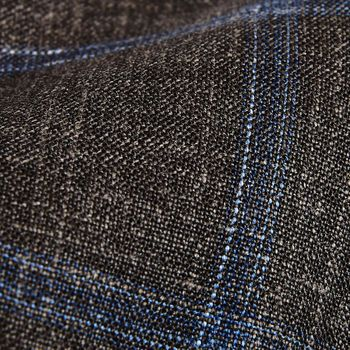 Dreaming of Monday Brown Checked 7-Fold Wool Silk Linen Tie Fabric