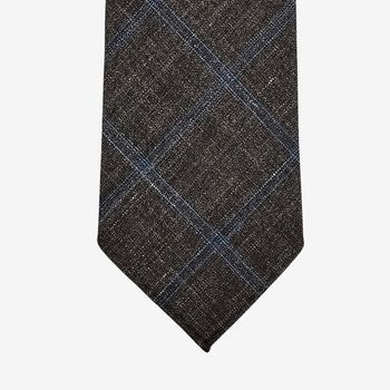 Dreaming of Monday Brown Checked 7-Fold Wool Silk Linen Tie Tip