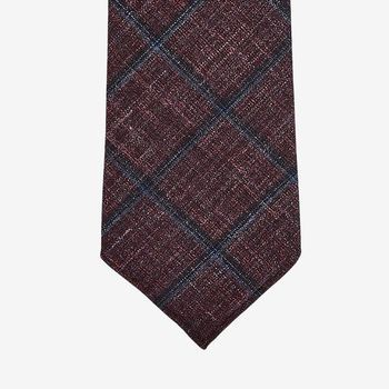 Dreaming of Monday Deep Burgundy Checked 7-Fold Wool Silk Linen Tie Tip (kopia)