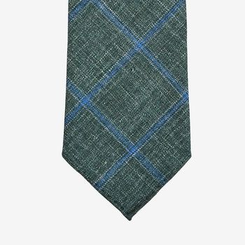 Dreaming of Monday Green Checked 7-Fold Wool Silk Linen Tie Tip