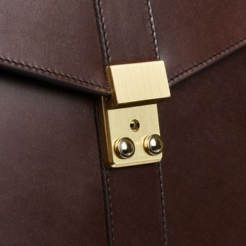 Frank Clegg Chocolate Harness Belting Leather Lock Briefcase Detail