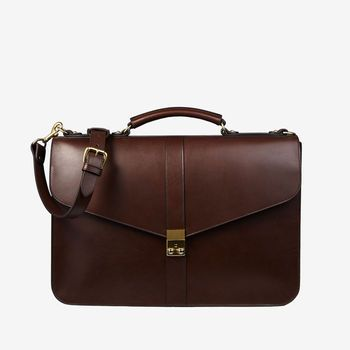 Frank Clegg Chocolate Harness Belting Leather Lock Briefcase Feature