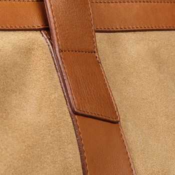 Frank Clegg Sand Suede Cognac Leather Signature Travel Duffle Detail