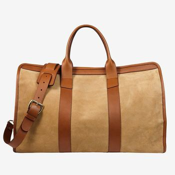 Frank Clegg Sand Suede Cognac Leather Signature Travel Duffle Feature