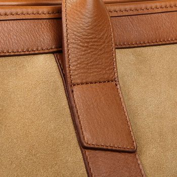 Frank Clegg Sand Suede Cognac Leather Small Travel Duffle Detail
