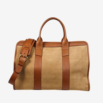 Frank Clegg Sand Suede Cognac Leather Small Travel Duffle Front