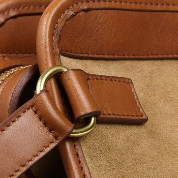 Frank Clegg Sand Suede Cognac Leather Small Travel Kit Detail