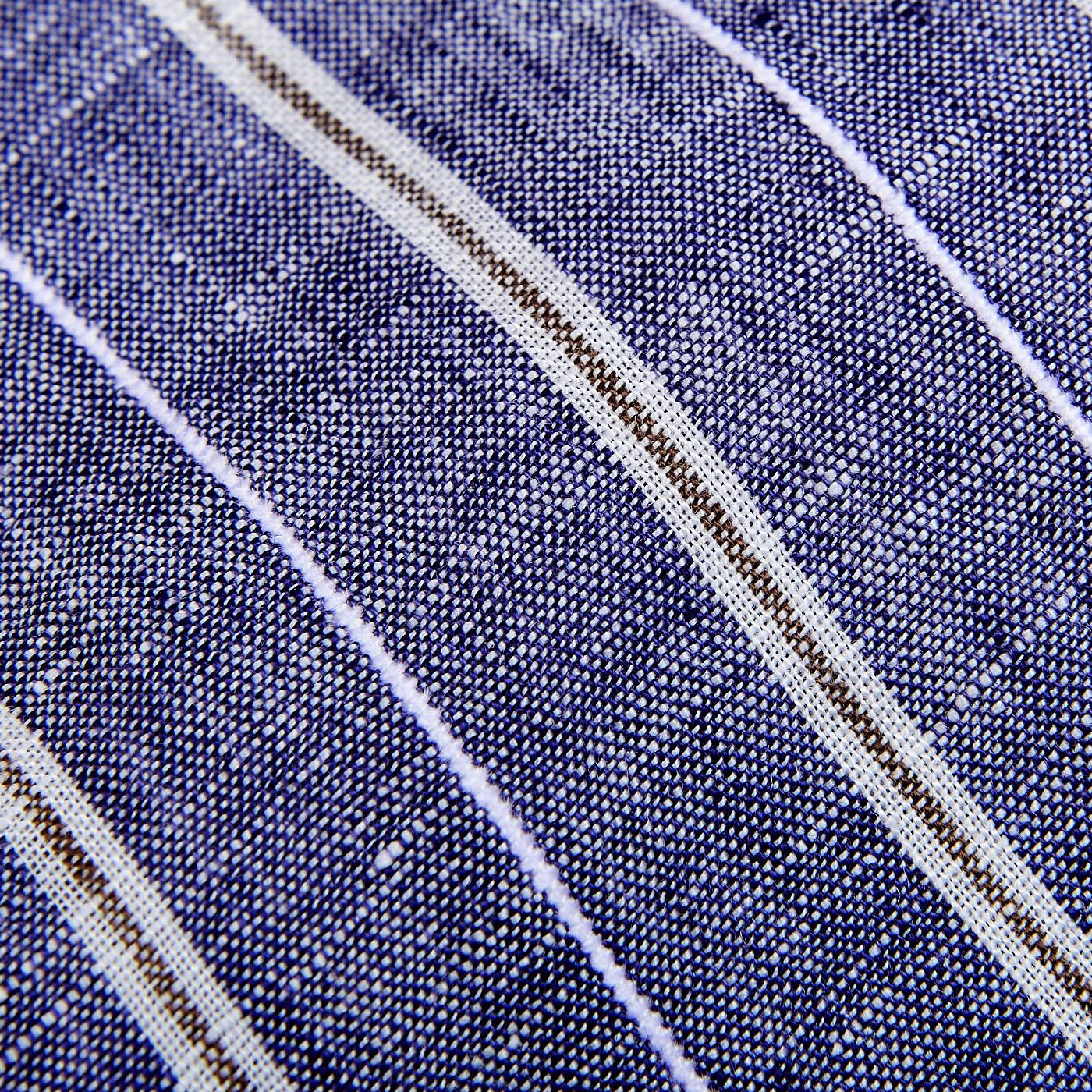 Stenströms Blue Vintage Striped Linen Slimline Shirt Fabric