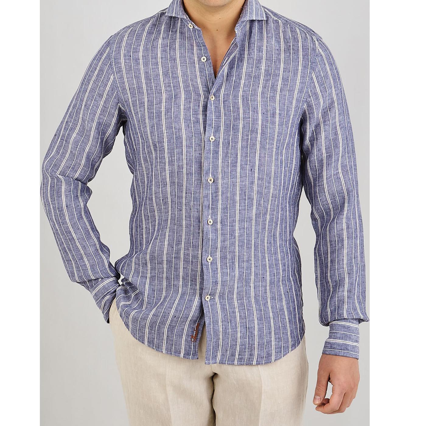 Stenströms Blue Vintage Striped Linen Slimline Shirt Front