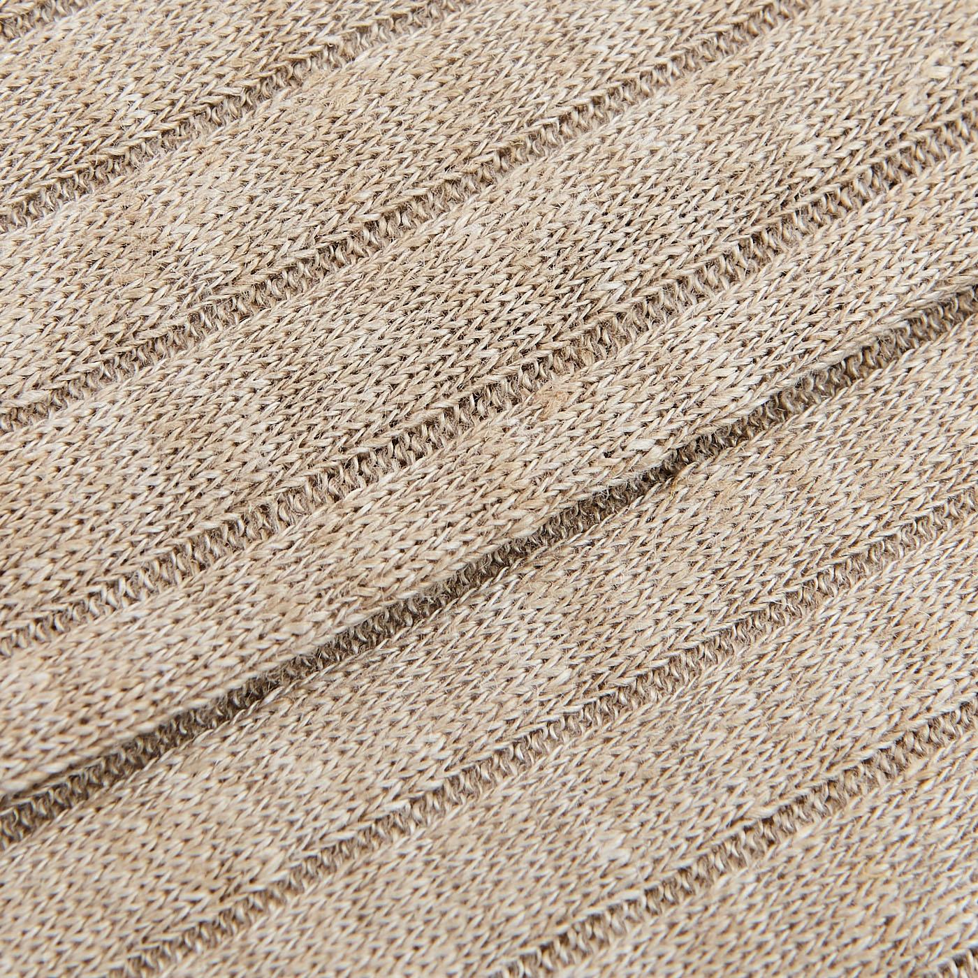 Bresciani Beige Melange Ribbed Linen Socks Fabric