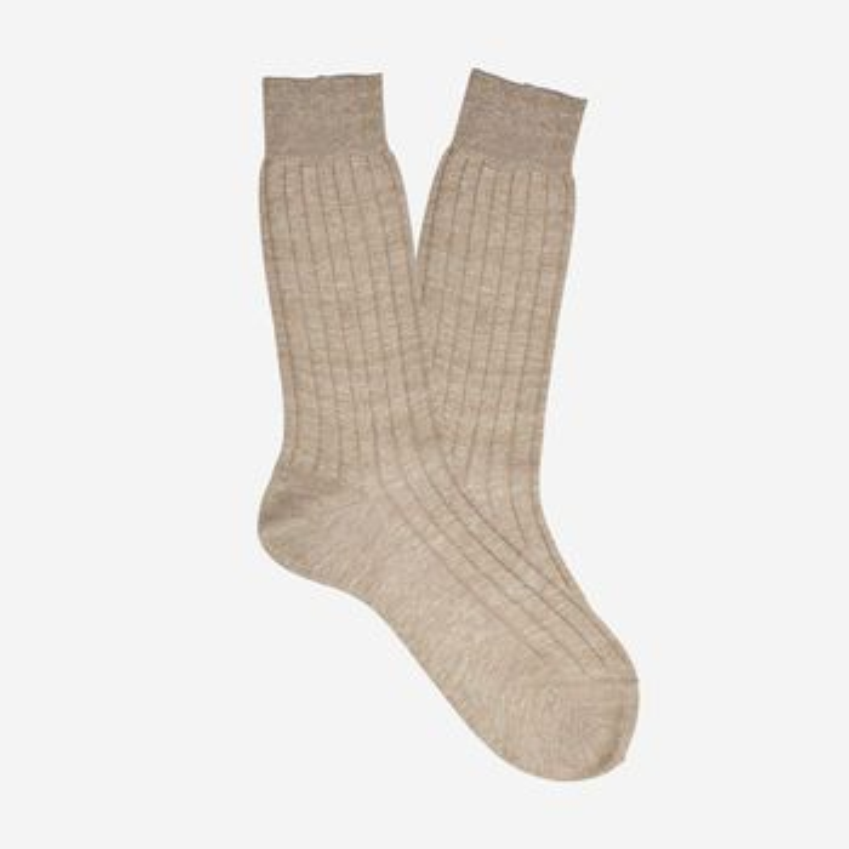 Bresciani Beige Melange Ribbed Linen Socks Feature