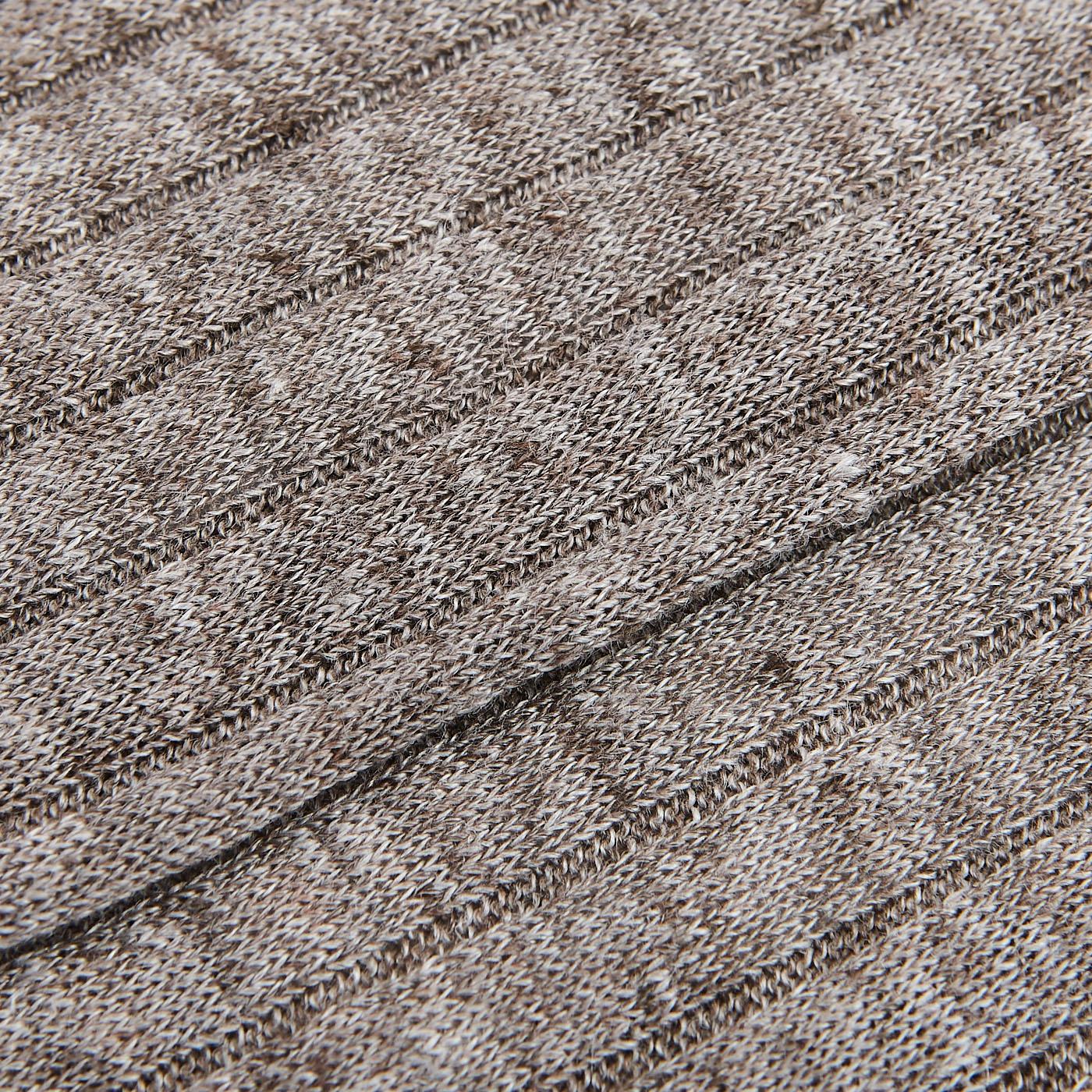 Bresciani Brown Melange Ribbed Linen Socks Fabric
