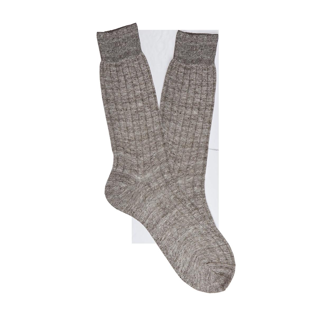 Bresciani Brown Melange Ribbed Linen Socks Feature