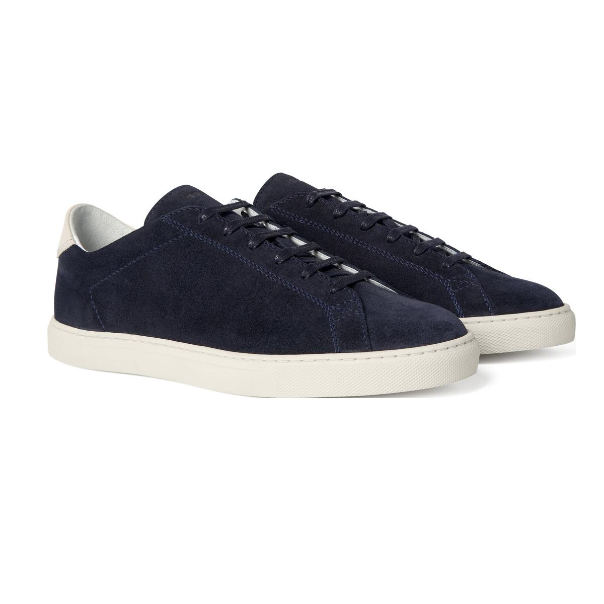 C.QP Deep Navy Suede Racquet Sneakers Front