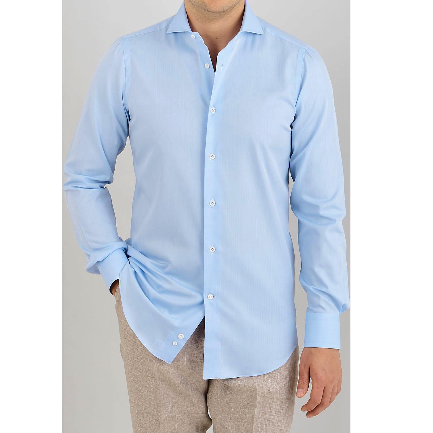 Mazzarelli Blue Cotton Herringbone Cutaway Slim Shirt Front kopiera