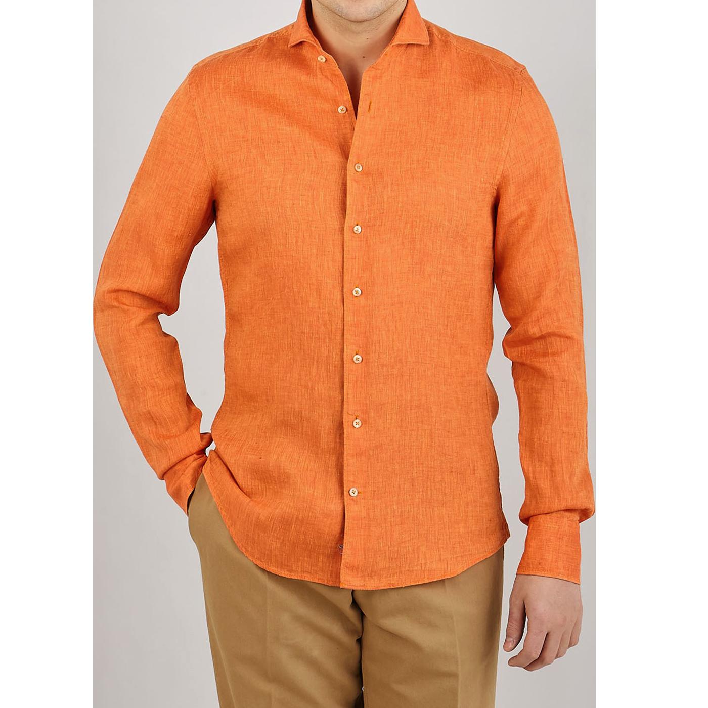 Stenströms Orange Linen Cutaway Slimline Shirt Front