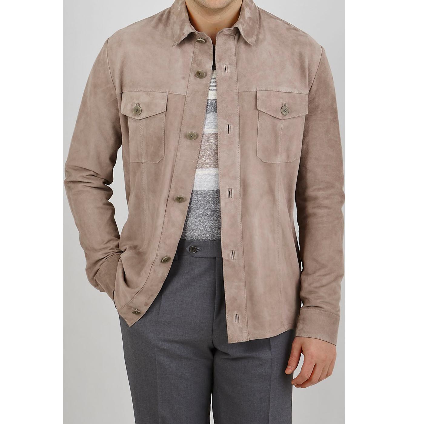 Torras Mushroom Suede Leather Overshirt Front