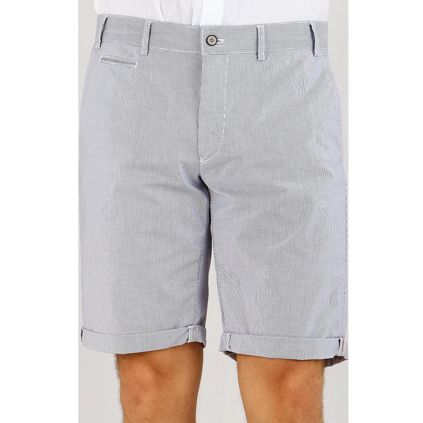 Hiltl Blue Cotton Feather Stripe Regular Shorts Front