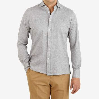 Ring Jacket Light Grey Cotton Pique Casual Shirt Front