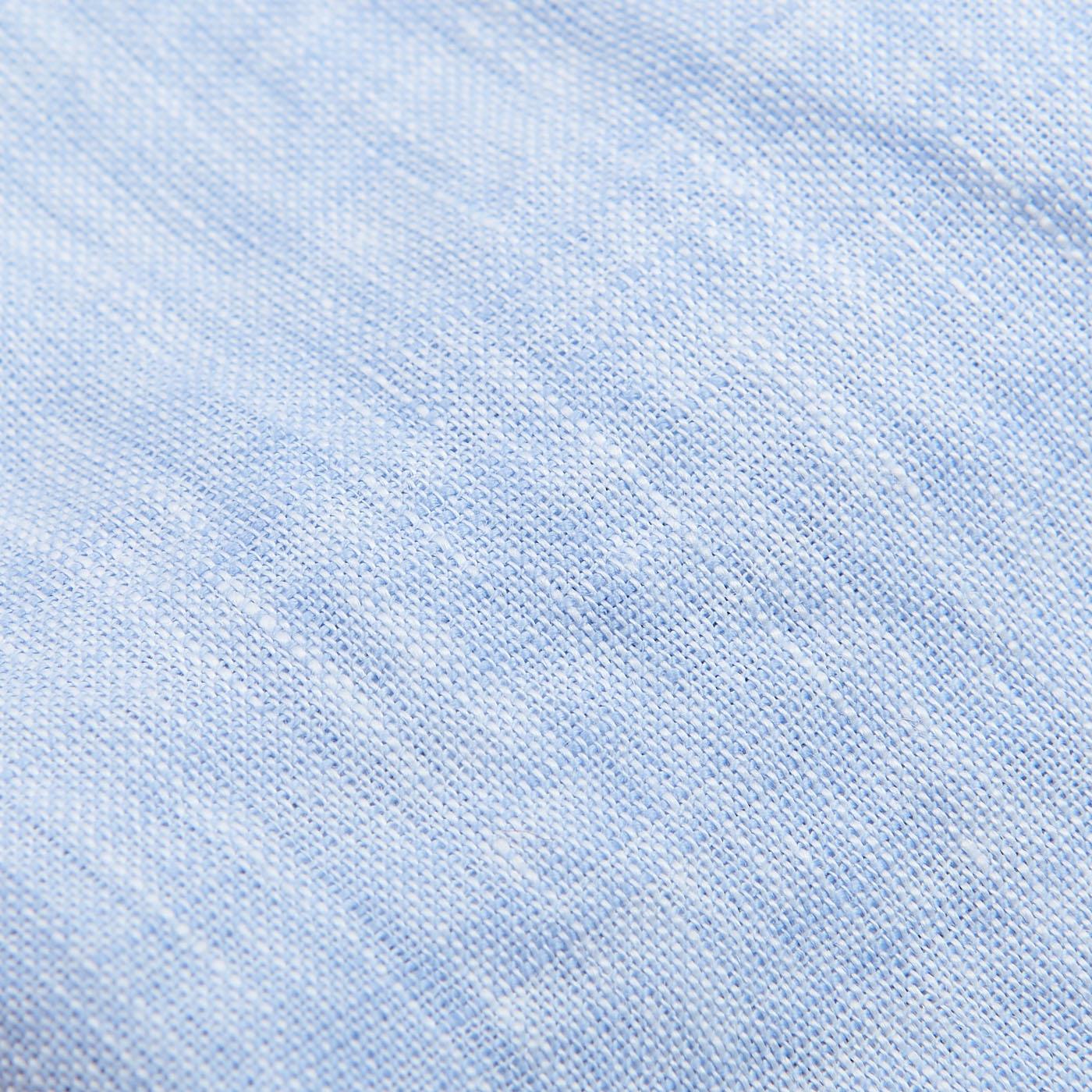 Stenströms Light Blue Linen Fitted Body Short Sleeve Shirt Fabric