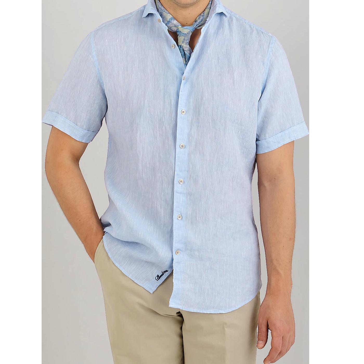 Stenströms Light Blue Linen Fitted Body Short Sleeve Shirt Front
