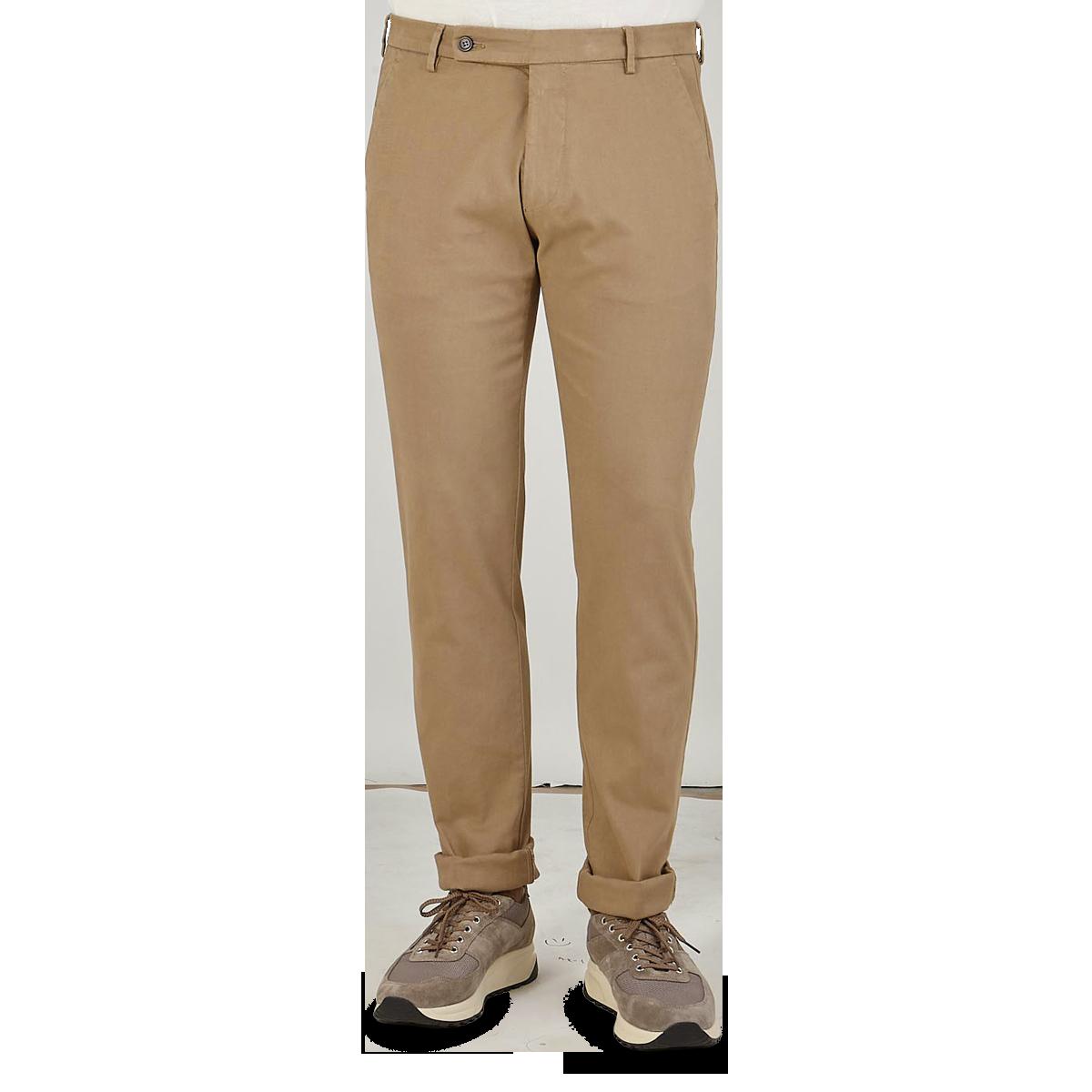 Berwich Beige Cotton Gabardine Stretch Chinos Pocket