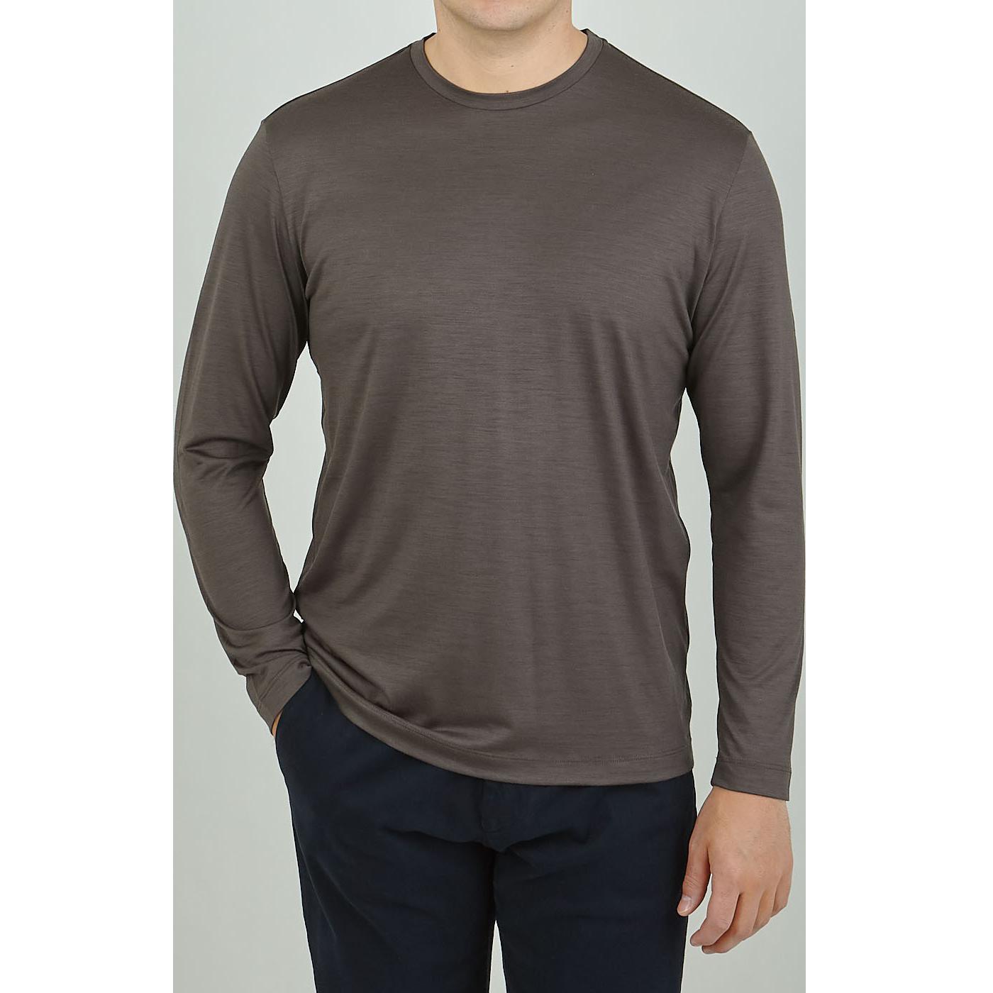 Maurizio Baldassari Brown Active Wool Jersey T-shirt Front